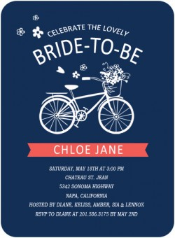 Blue Wedding Bicycle Bridal Invitation Cards HPB130 [HPB130]