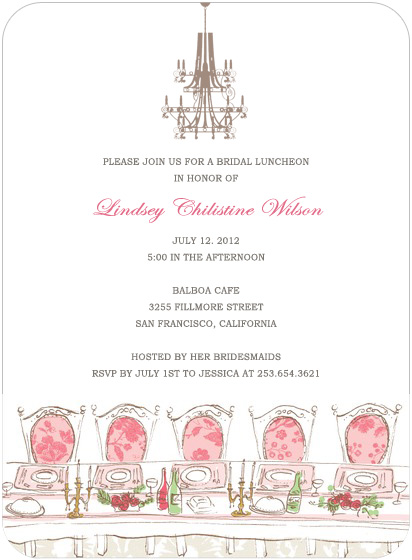 Chandelier And Table Bridal Shower Invitation Cards HPB122 [HPB122]