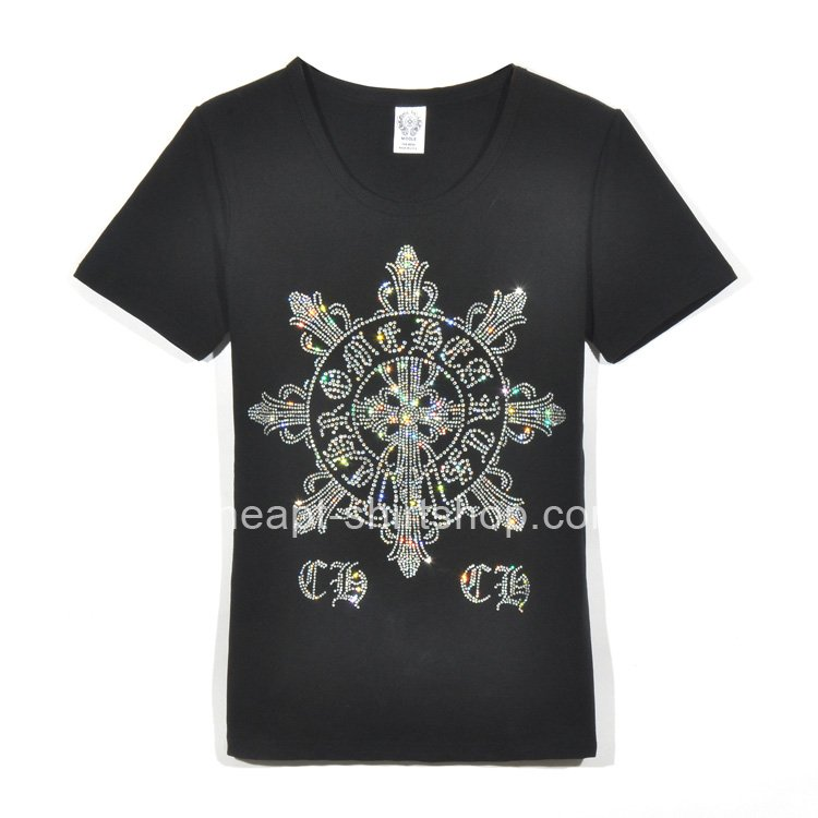 Chrome Hearts Black Snowflake Rhinestone Short Sleeves T-Shirt Sales [Chrome Hearts T-shirts] &# ...