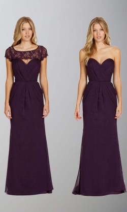 Removable Vest Long Purple Trumpet Bridesmaid Dress KSP405 – £94.00