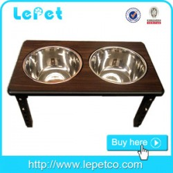 Factory wholesale stainless steel dog bowl pet feeder wood elevated dog bowls