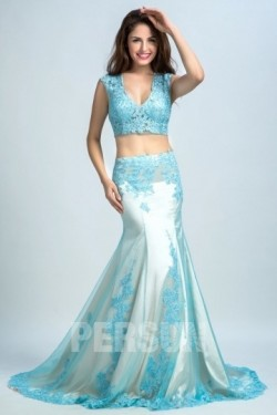 Günstig 2016 Sexy 2-Piece Blau Meerjungfrau Abendkleider aus Tüll