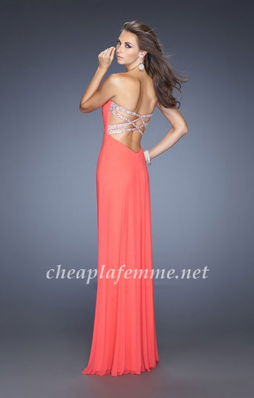 Strapless Open Back Pink Grapefruit Prom Dresses By La Femme 19975 [La Femme 19975] – $185 ...