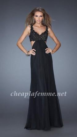 Two Shoulder Full Length Lace Bodice Long Prom Dress Black Online [La Femme 20022] – $182. ...