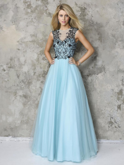 US$140.99 2016 Beads Blue A-line Sleeveless Open Back Tulle Floor Length
