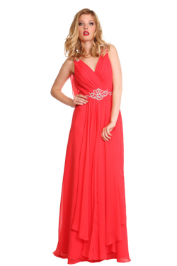 US$160.99 2016 Chiffon Ruched V-neck Red V-back A-line Sleeveless Floor Length
