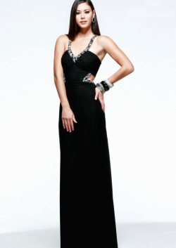 US$142.99 2015 Criss Cross Blue Black Chiffon Beading Straps Floor Length