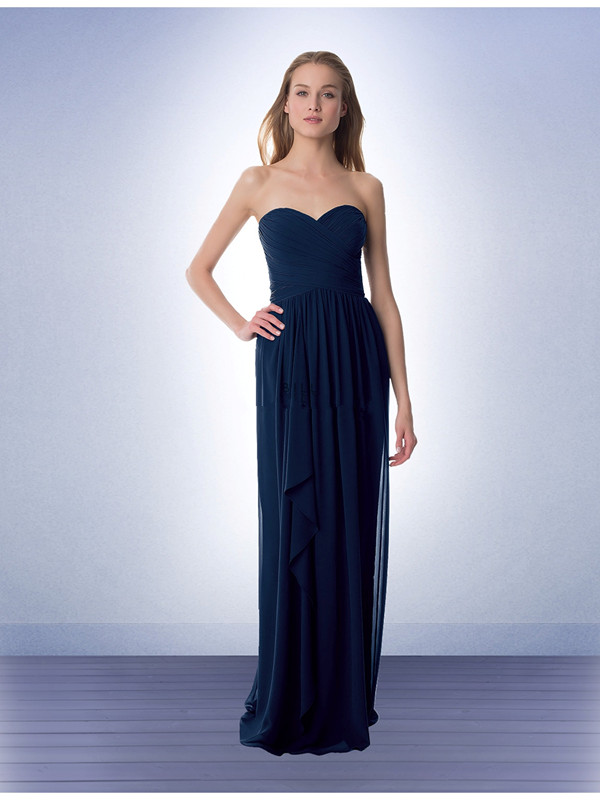US$133.99 2015 Floor Length Navy Sweetheart Chiffon Ruched Sleeveless