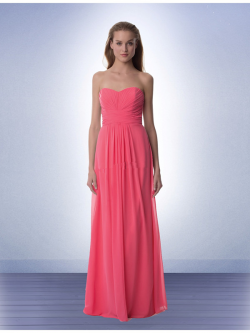 US$137.99 2015 Floor Length Pink Sweetheart Chiffon Ruched Sleeveless