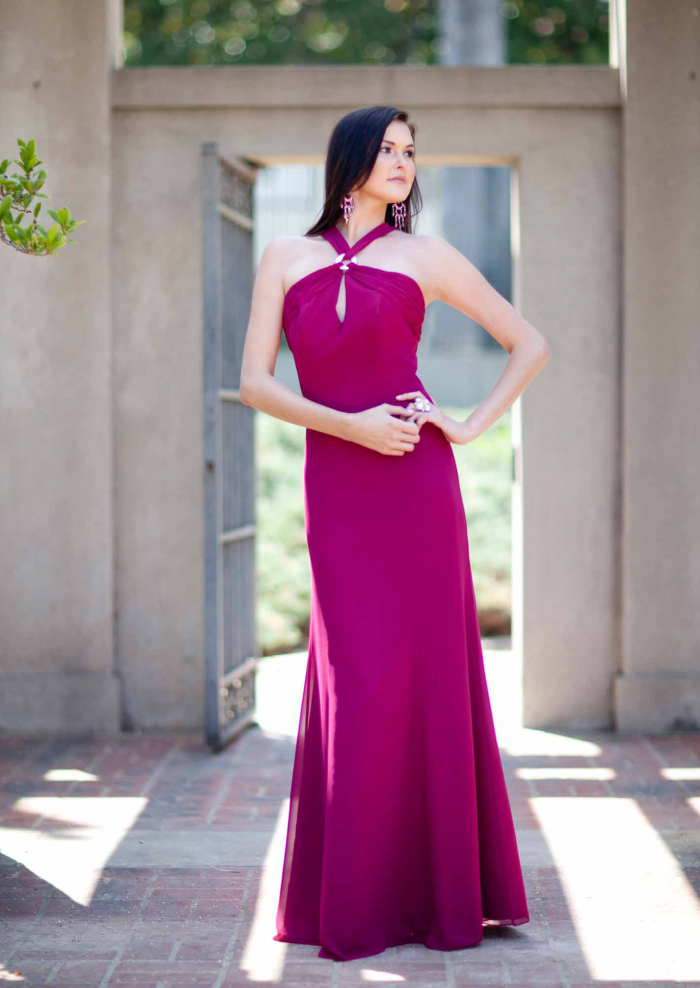 US$158.99 2015 Fuchsia Straps Chiffon Sleeveless Ruched Floor Length