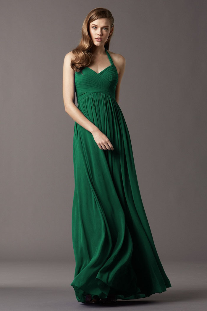 US$136.99 Halter Sleeveless Chiffon Ruched Floor Length Green