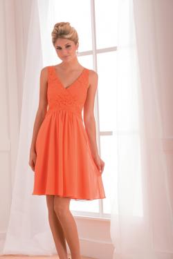 US$135.99 2015 Lace V-neck Appliques Chiffon Orange Sleeveless Short