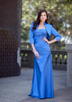 US$165.99 2015 Strapless Blue Satin Ruched Sleeveless Jacket Floor Length
