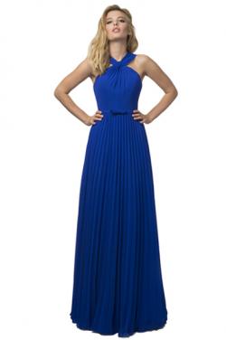 US$162.99 2016 Straps Blue Ruched Zipper A-line Chiffon Floor Length Sleeveless