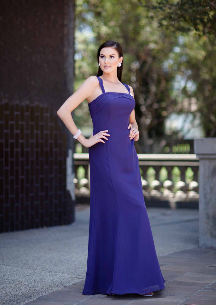 US$150.99 2015 Straps Chiffon Blue Sleeveless Floor Length
