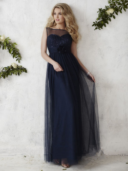 US$139.99 2016 Straps Navy Buttons Tulle A-line Floor Length Sleeveless Ruched