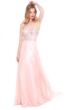 US$168.99 2016 Sweetheart Crystals A-line Pink Chiffon Floor Length Sleeveless Ruched
