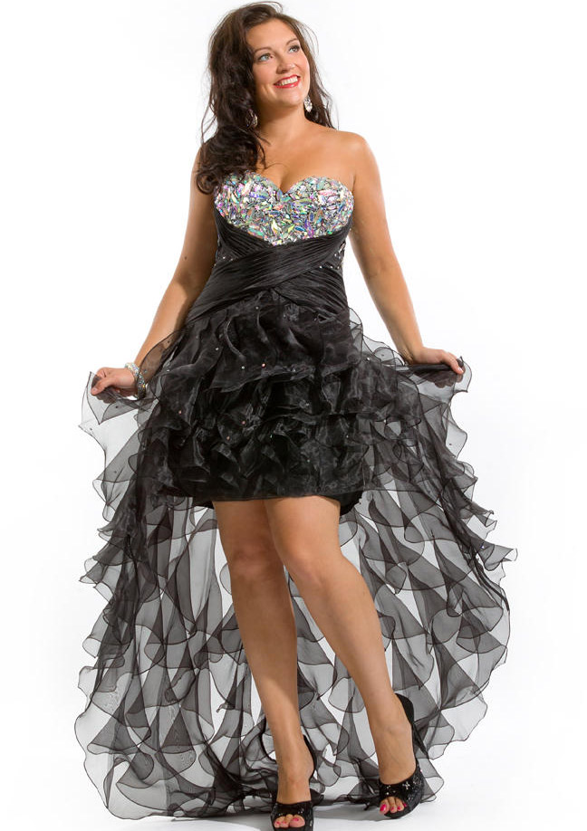 US$159.99 2015 Sweetheart Zipper Crystals Tulle Black Ruched High Low Sleeveless