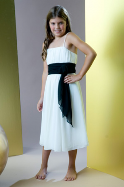 US$95.99 2015 Tea Length Chiffon Spaghetti Straps White Ruched Sash Sleeveless