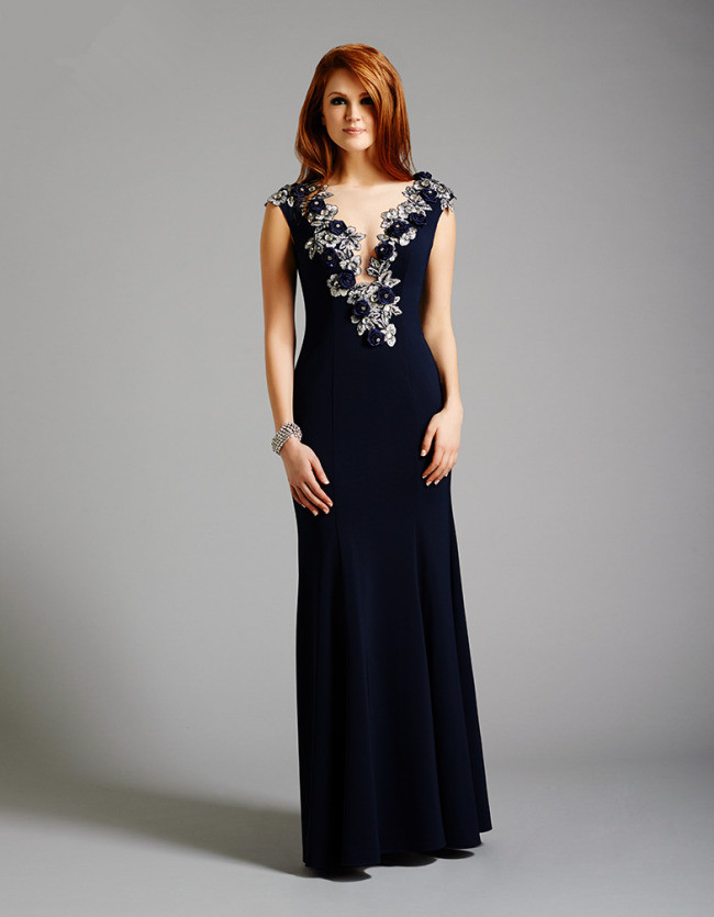 US$178.99 2015 V-neck Tulle Chiffon Dark Navy Appliques Floor Length