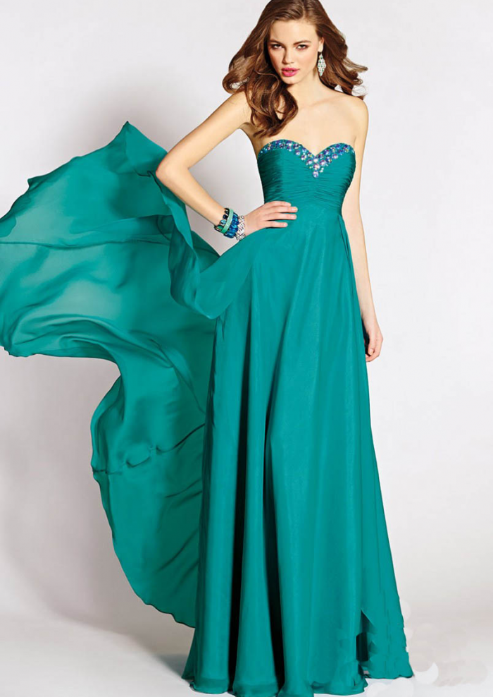 US$142.99 2015 Zipper Green Sweetheart Crystals Chiffon Ruched Floor Length
