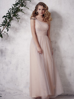 US$139.99 2016 Zipper One Shoulder Tulle A-line Floor Length Pink Sleeveless Ruched