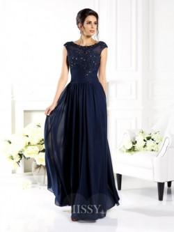 A-Line Scoop Floor-Length Chiffon Dresses with Beading – MissyGowns