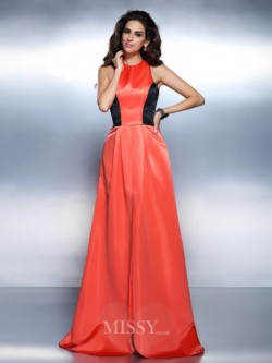 A-Line/Princess High Neck Sleeveless Floor-Length Satin Prom/Evening Dresses – MissyGowns