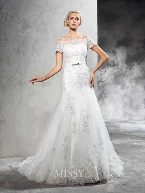Justo/Coluna Ombro a Ombro Manga Curta Apliques Cauda Média Malha Vestido de Casamento