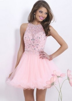 Pink Sheer Crystals Beaded Cutout Back Homecoming Dress [Blush 9854 Pink] – $157.00 : Lady ...
