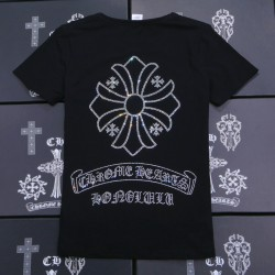 Rhinestone Big Signature Cross Black Cotton Chrome Hearts T Shirt [Chrome Hearts T Shirt] – ...