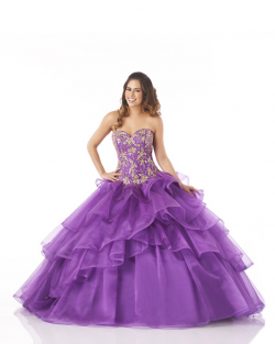 US$232.99 2015 Appliques Purple Lace Up Tiers Tulle Sweetheart Floor Length