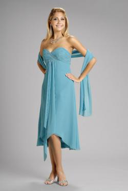 US$154.99 2015 Blue Chiffon Shawl Sleeveless Sweetheart Knee Length