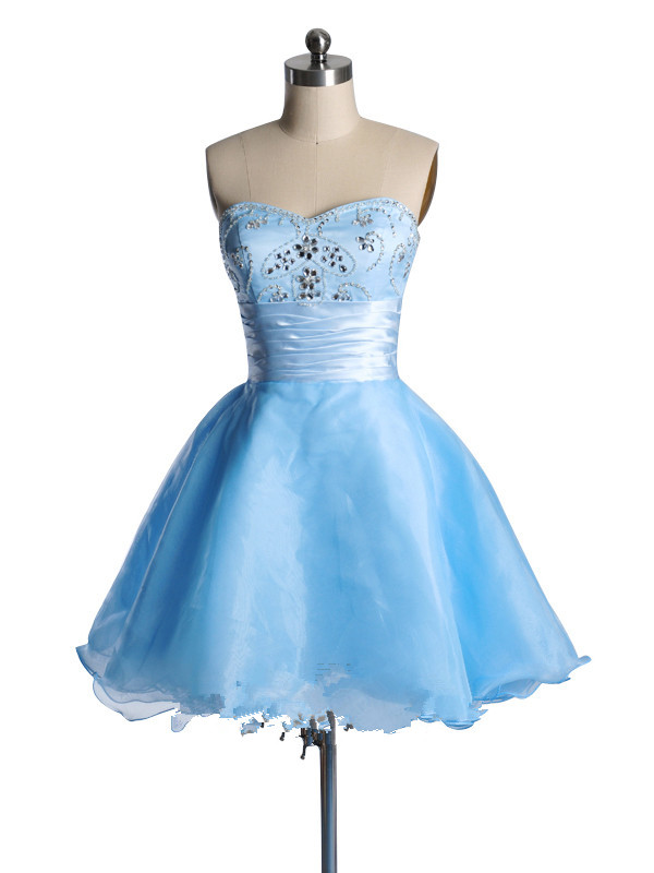 US$163.99 2015 Crystals Sweetheart Blue Sleeveless Tulle Zipper Short Length