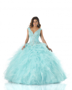 US$229.99 2015 Floor Length Blue V-neck Crystals Ruffled Tulle Lace Up Sleeveless