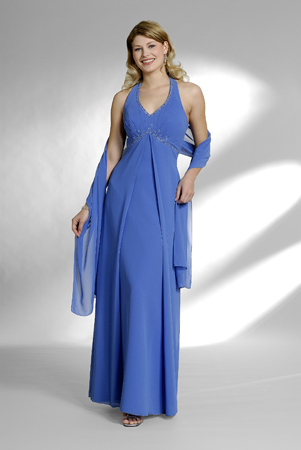 US$162.99 2015 Halter Ruched Blue Chiffon Shawl Sleeveless Ankle Length