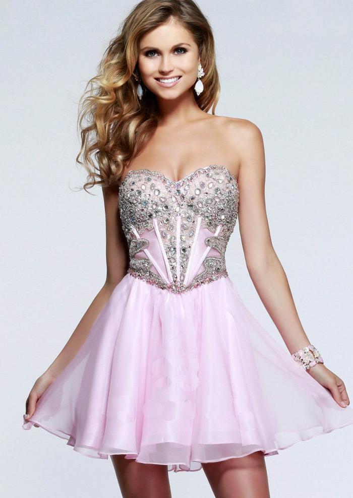 US$138.99 2015 Lace Up Beading Ruched Sweetheart Chiffon Pink Short
