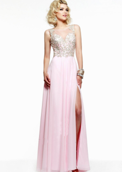 US$145.99 2015 Open Back Beading Split Front Appliques Scoop Chiffon Pink Floor Length