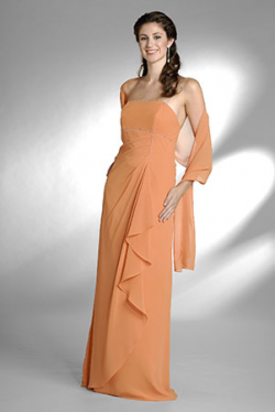 US$167.99 2015 Orange Floor Length Shawl Strapless Ruched Sleeveless