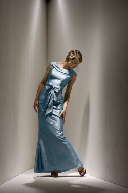 US$168.99 2015 Scoop Satin Buttons Bow Sleeveless Floor Length Sheath