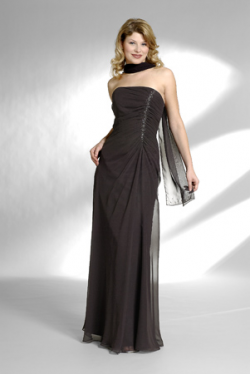US$162.99 2015 Sleeveless Ruched Strapless Shawl Brown Floor Length