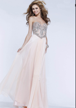 US$142.99 2015 Sweetheart Beading Chiffon Blush Navy Silver Floor Length