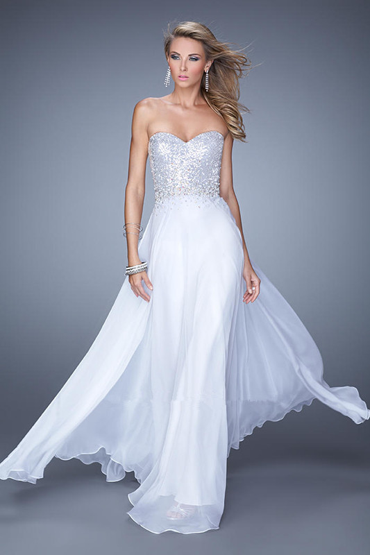 US$155.99 2015 Sweetheart White Ruched Zipper Floor Length Sleeveless Lilac Beading Chiffon
