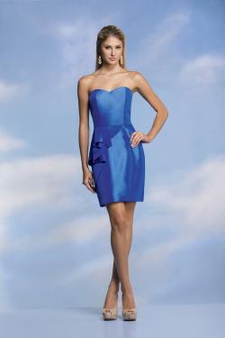 US$136.99 2015 Zipper Up Sweetheart Sleeveless Satin Blue Short