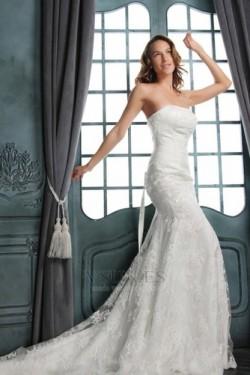 Vestido de novia Corte Sirena Hasta el suelo Encaje Espalda medio descubierto – vsun.es