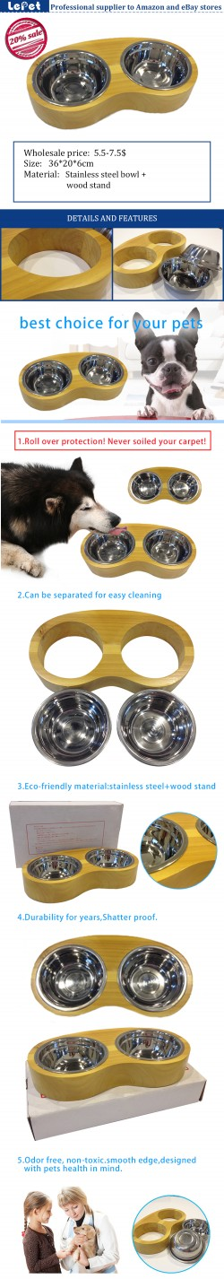 Stainless steel dog bowl with wood stand wholesale low price China manufacturer