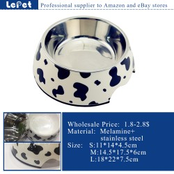 dog bowl&feeders pet feeder dog bowls with logo Melamine+stainless steel