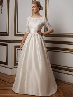 half sleeves illusion backless lace satin wedding dress