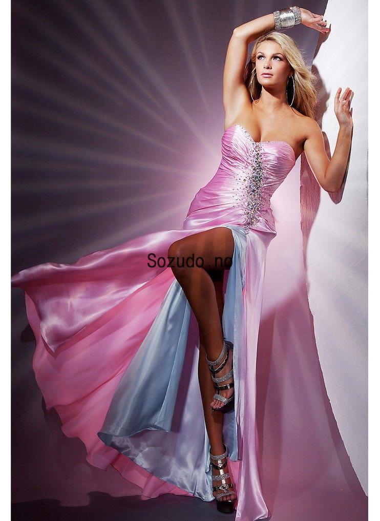 Rosa Skjede/kolonne Kjæreste Utringing Paljetter Gulvlengde Taffeta Ballkjoler With Delt Side &# ...