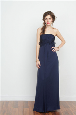 US$141.99 2016 A-line Strapless Chiffon Ruched Zipper Floor Length Sleeveless Navy